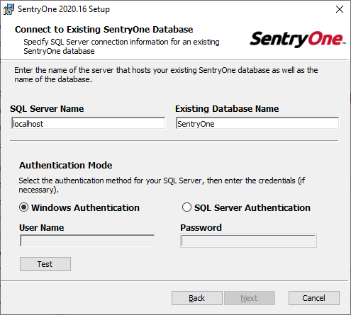SentryOne Setup Wizard Connect to Existing SentryOne Database