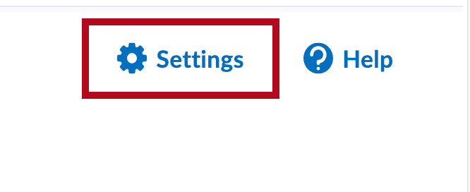 Identifies Settings icon