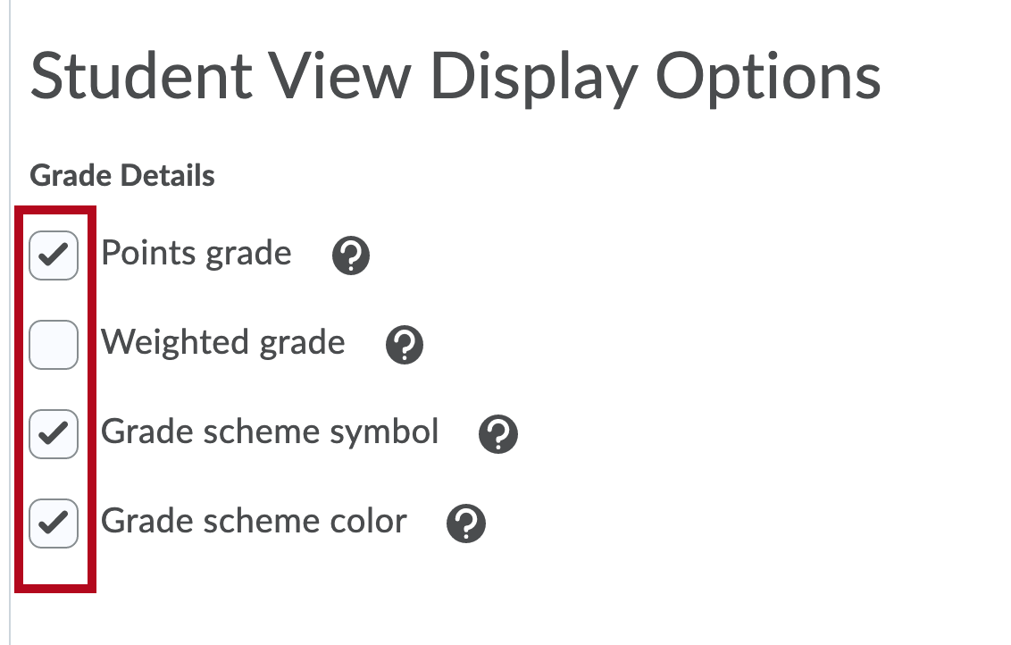 Identifies Student Display Options