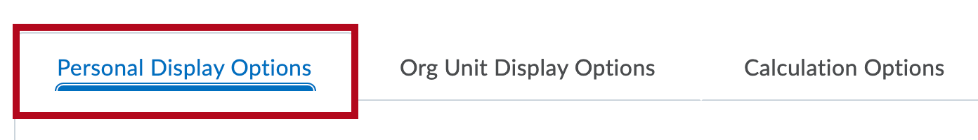 Identifies Personal Display Options tab