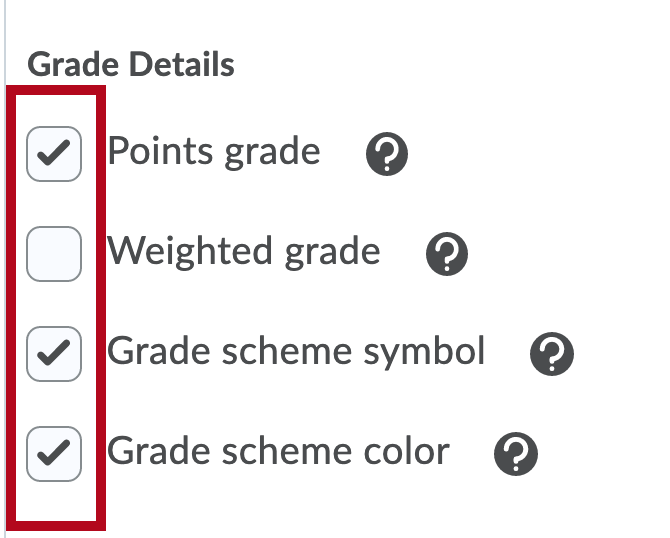 Identifies Grade Details options