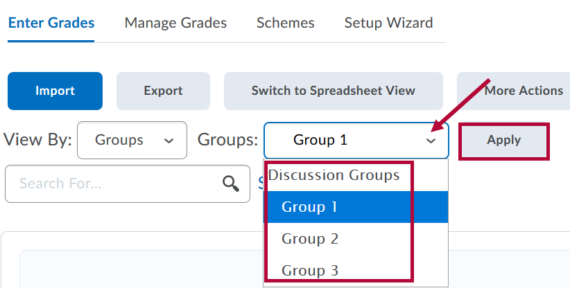 View By Groups choice indicated withs Groups and Apply identified.