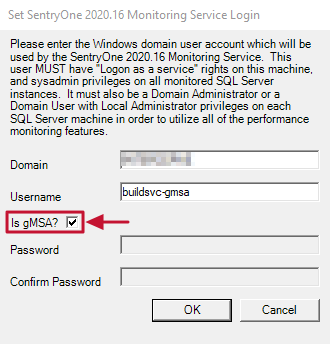 SentryOne Monitoring Service Login Is gMSA option