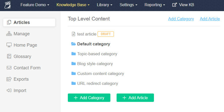 Screenshot of the KnowledgeOwl Articles page, with a new draft article at the top of the content list