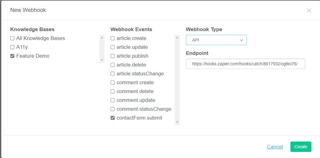 Screenshot of KnowledgeOwl's New Webhook modal, with the following options selected: contactForm.submit as the webhook event, API as the webhook type.