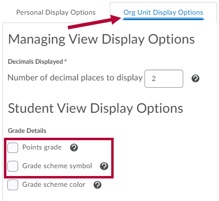 Shows gradebook display options.