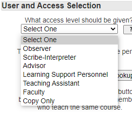 Shows Access level option on Add a User Form
