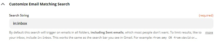 "Screenshot of the Zap after adding ""in:inbox"" as the email search string"