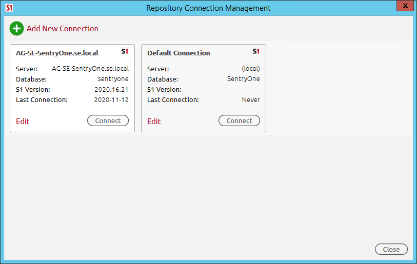 SentryOne Repository Connection Management