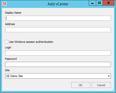 SentryOne Add vCenter window