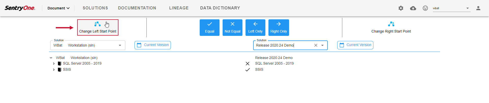 SentryOne Document Solution Comparison Change Left Start Point