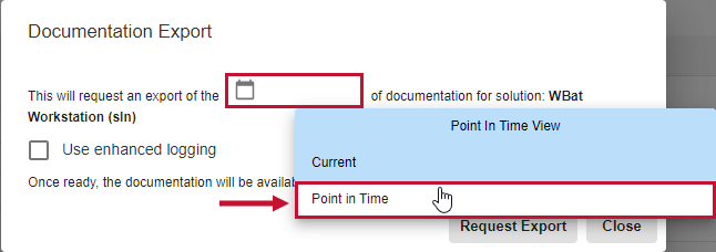 SentryOne Document Documentation Export window select Point In Time