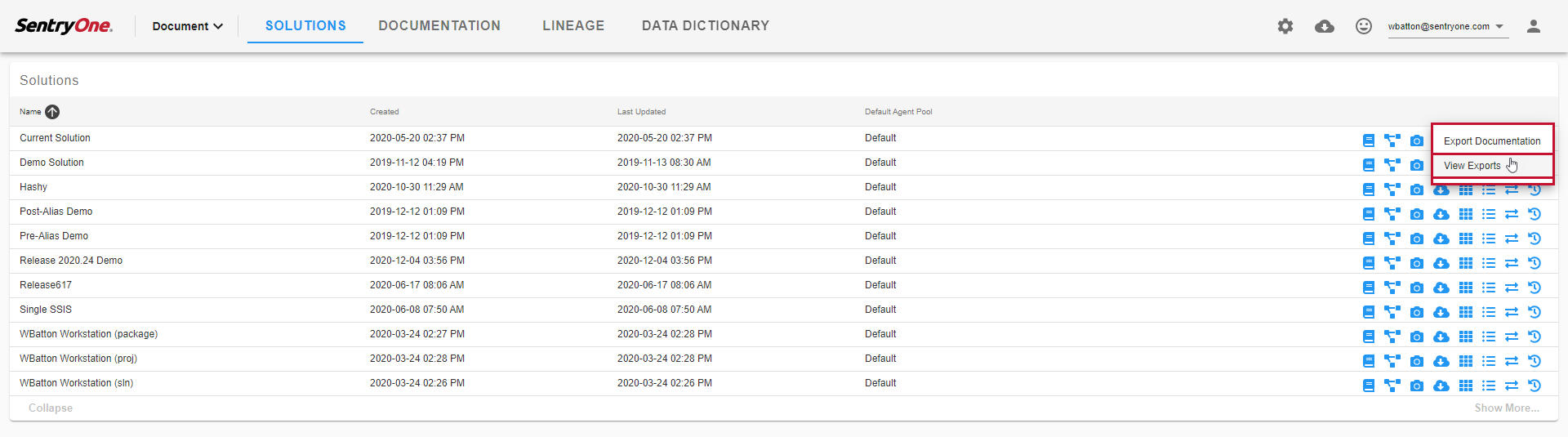 SentryOne Document Solutions Dashboard select View Exports