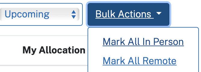A drop-down menu for the Bulk Actions option, with options for