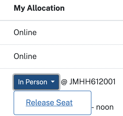 A drop-down menu under the My Allocation column, with a Release Seat option available.