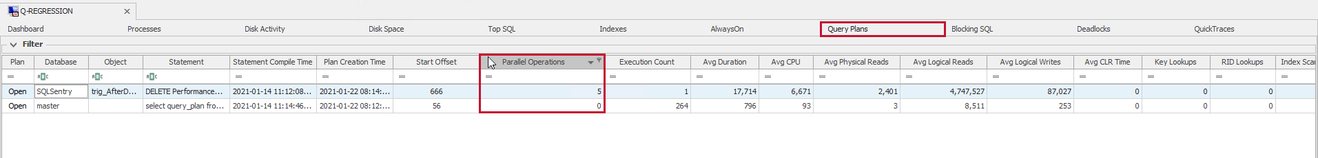 SentryOne Query Plans sort by Parrallel Operations column