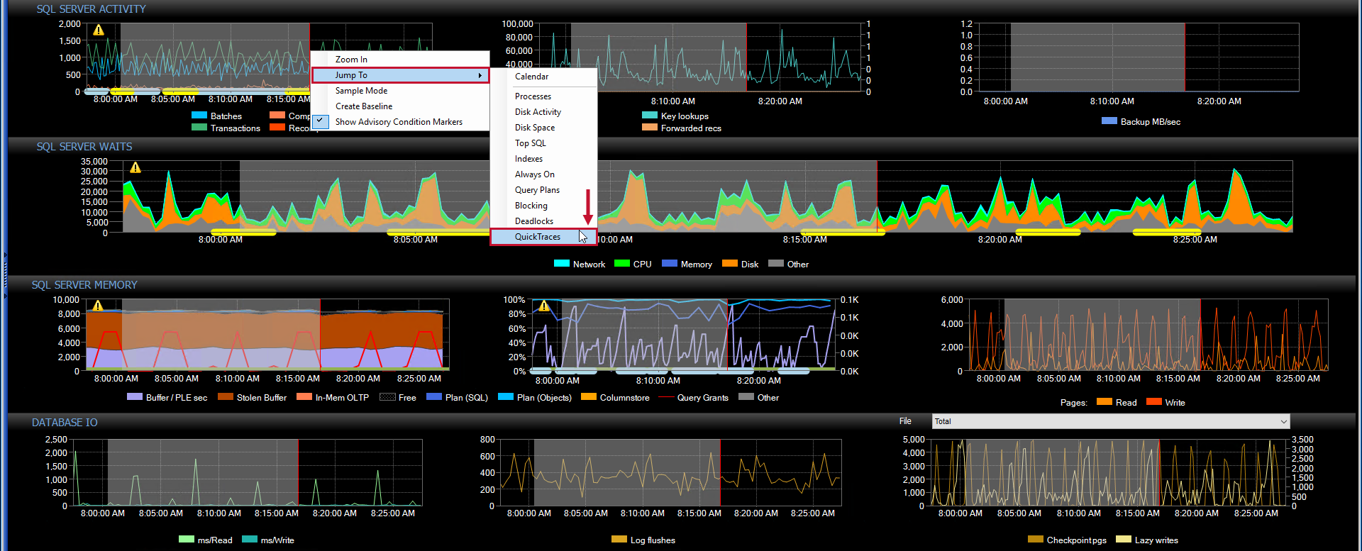 SentryOne Performance Analysis Dashboard Jump To QuickTraces context menu
