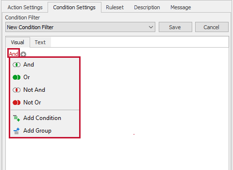 SentryOne Condition Settings Logical Operator Context Menu