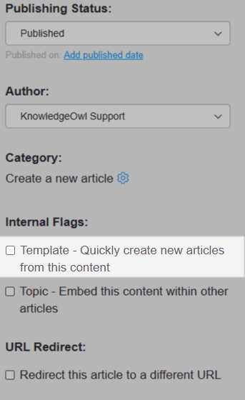 Screenshot of the article settings menu. The Template checkbox is highlighted.