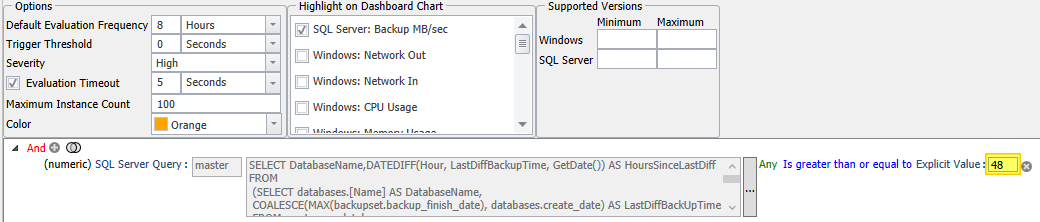 Database Backup Diff SLA Breached condition options screen showing the 48 highlighted in the explicit vale for evaluation