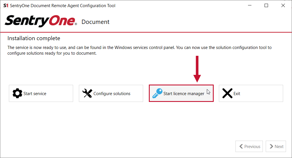 Remote Agent Configuration tool highlighting the Start Licensing Manager button.