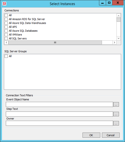 Select Instances window with Connections, SQL Server Groups, and options to apply Connection Text Filters.