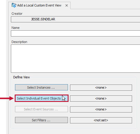Add a Local Custom Event View tab with the Select Individual Event Objects button highlighted.