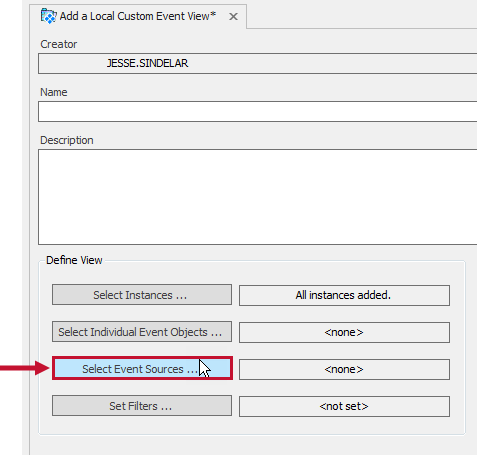 Add a Local Custom Event View tab with the Select Event Sources button highlighted.