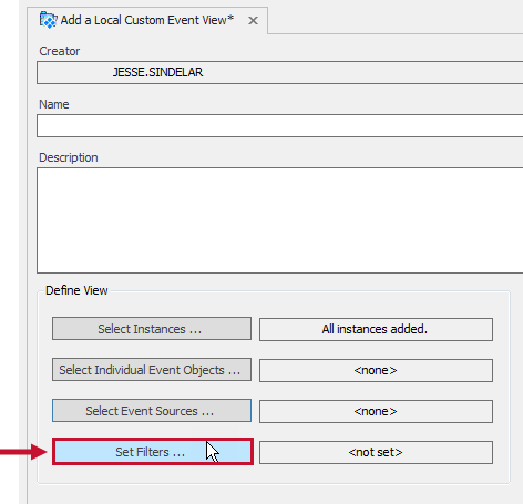 Add a Local Custom Event View tab with the Set Filters button highlighted.