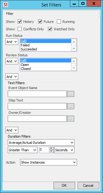 Set Filters window displaying options for what to show, run status, review status, text filters, duration filters and action.