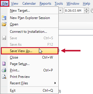 SQL Sentry toolbar bar highlighting the File > Save View As option.