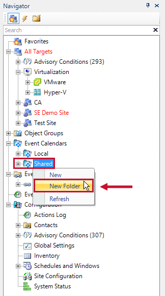 Navigator Pane with the Shared Event Calendar view select and the New Folder context menu option highlighted.