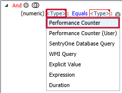 Type options displayed are Performance Counter, Performance Counter (User), SentryOne Database Query, WMI Query, Explicit Value, Expression, and Duration