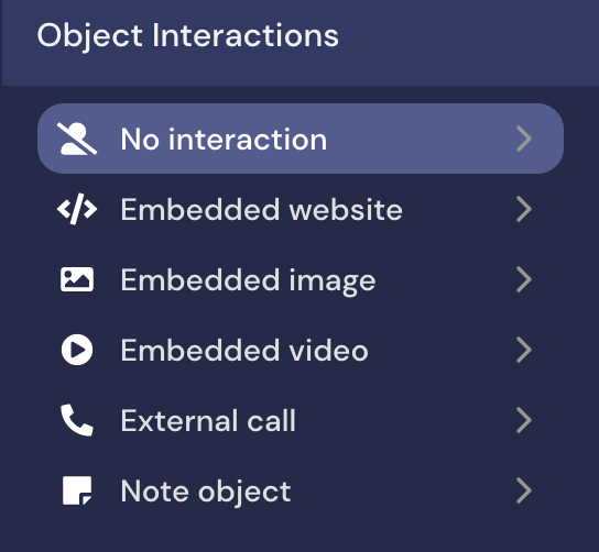 screenshot of the Object Interactions options